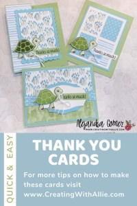Three cute Thank you card ideas using the Turtle friends bundle from Stampin; Up!