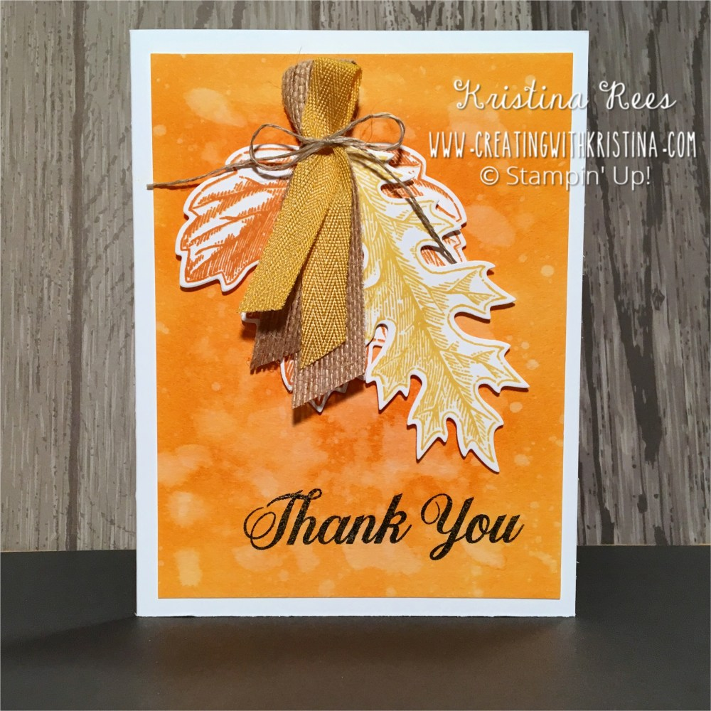 Vintage Leaves With Watercolor Background Thank You Card
