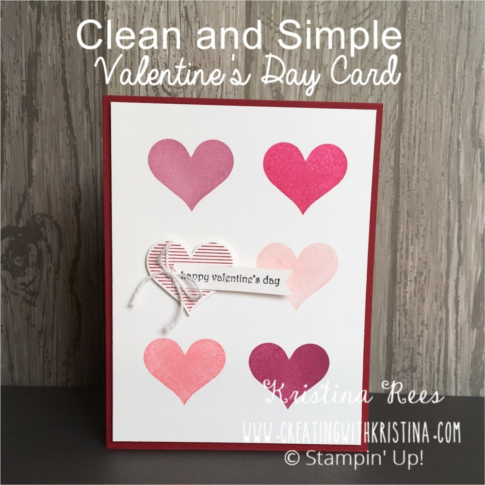 Heart Happiness Clean and Simple Valentine's Day Card www.creatingwithkristina.com