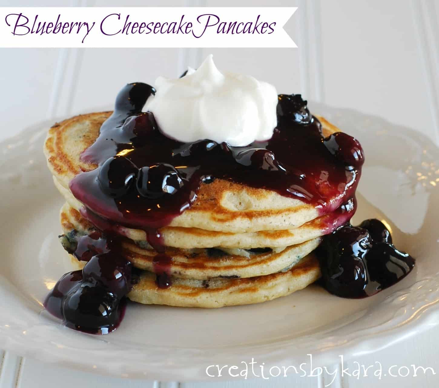 Blueberry Pancakes With Cream Cheese Topping