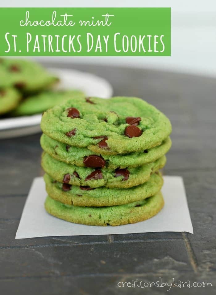 Green Mint Chocolate Chip Cookies For St Patricks Day