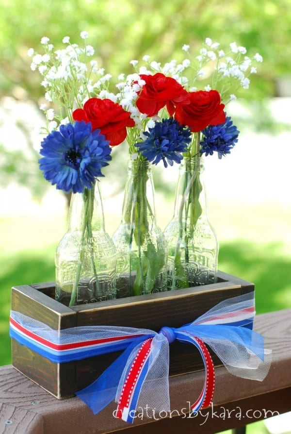4th Of July Centerpiece With Rustic Crate