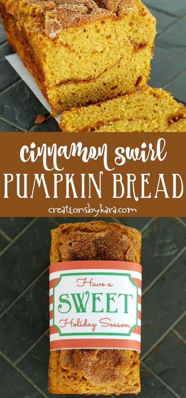 Pumpkin Cinnamon swirl bread recipe collage