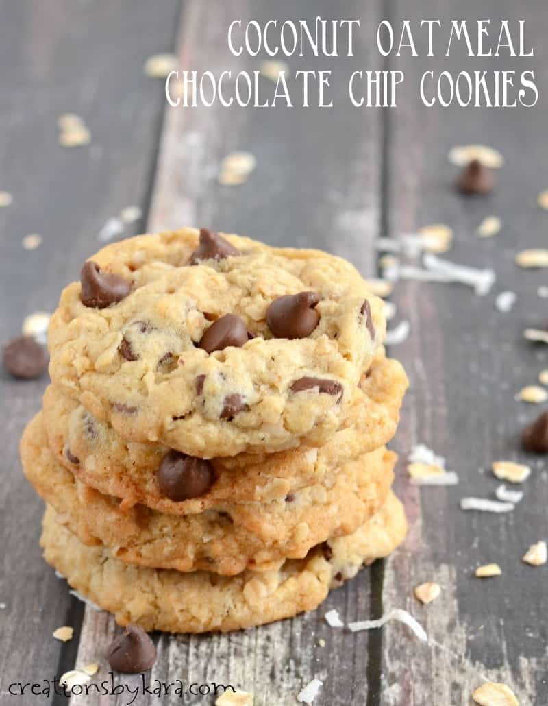 Coconut Oatmeal Chocolate Chip Cookies Creations By Kara