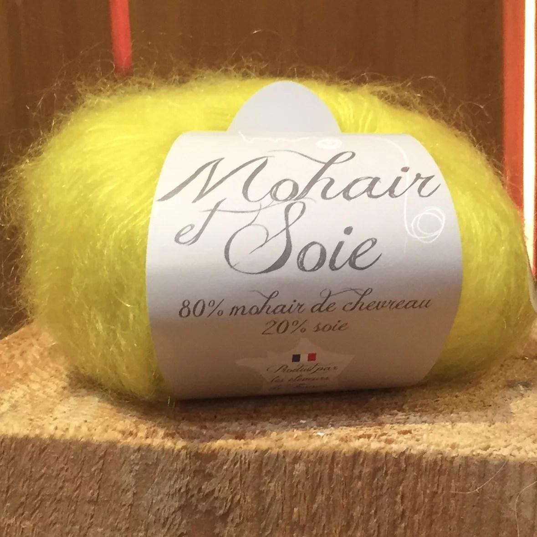 pelote Mohair et soie Citron