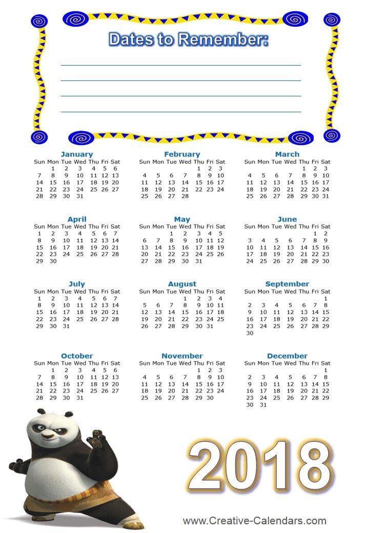 Free Printable Kung Fu Calendars