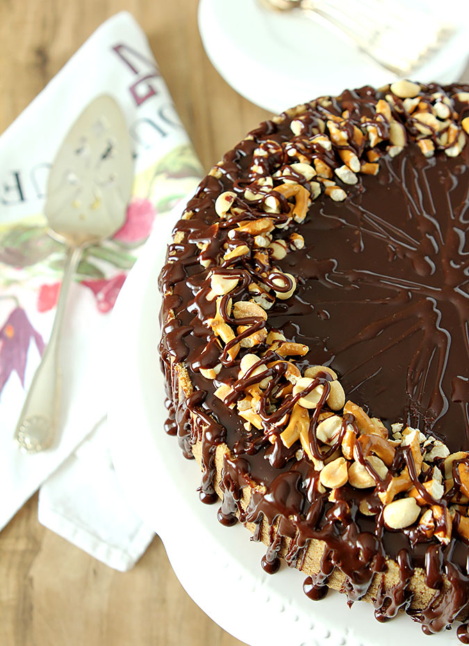 Chocolate Peanut Butter Cheesecake - Pretzel Crust