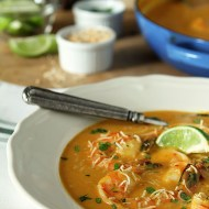 Thai Butternut Squash and Coconut Soup with Shrimp