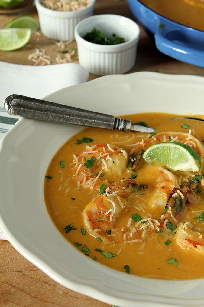Thai Butternut Squash and Coconut Soup with Shrimp