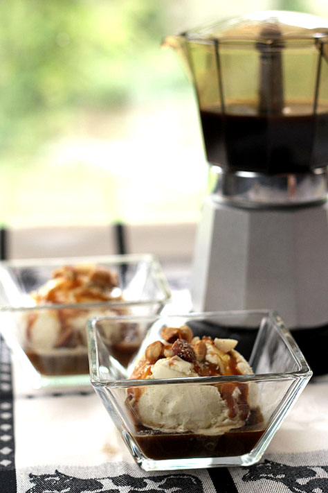 Affogato - Vanilla Ice Cream with Espresso, Caramel Sauce and Salted Nuts