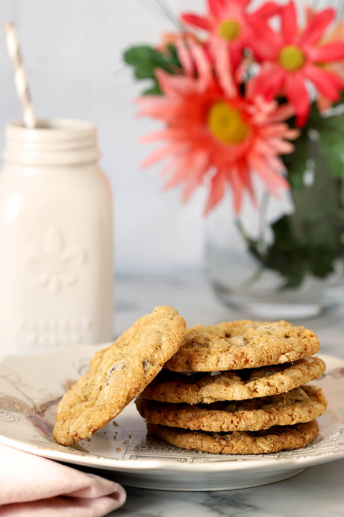 Barbara Bush's Famous Chocolate Chip Cookies Stacked on a Plate
