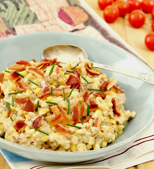 The BEST Creamed Corn has Bacon, Caramelized Onion and Cream Cheese