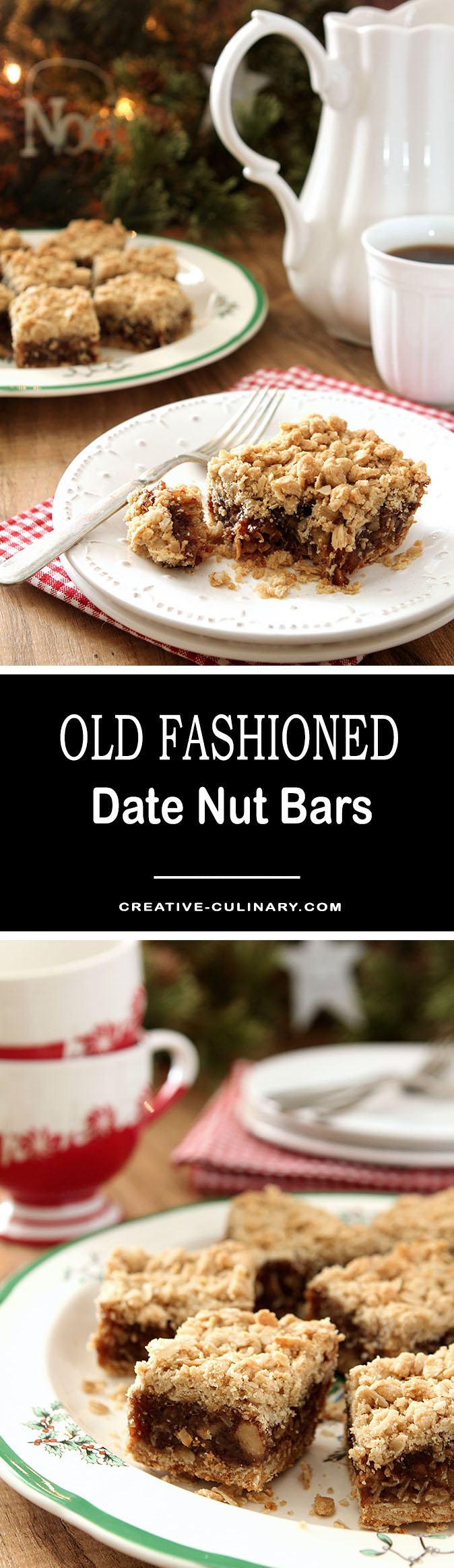 A quintessential holiday treat, these Old Fashioned Date Nut Bars are rich and gooey with a crisp oatmeal topping. Always a family favorite!