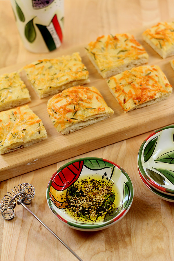 Italian Focaccia Bread with Olive Oil, Rosemary and Garlic