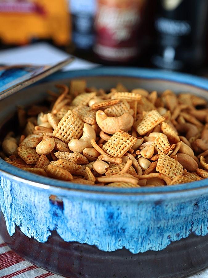 Honey Sriracha Chex Mix with Peanuts and Cashews