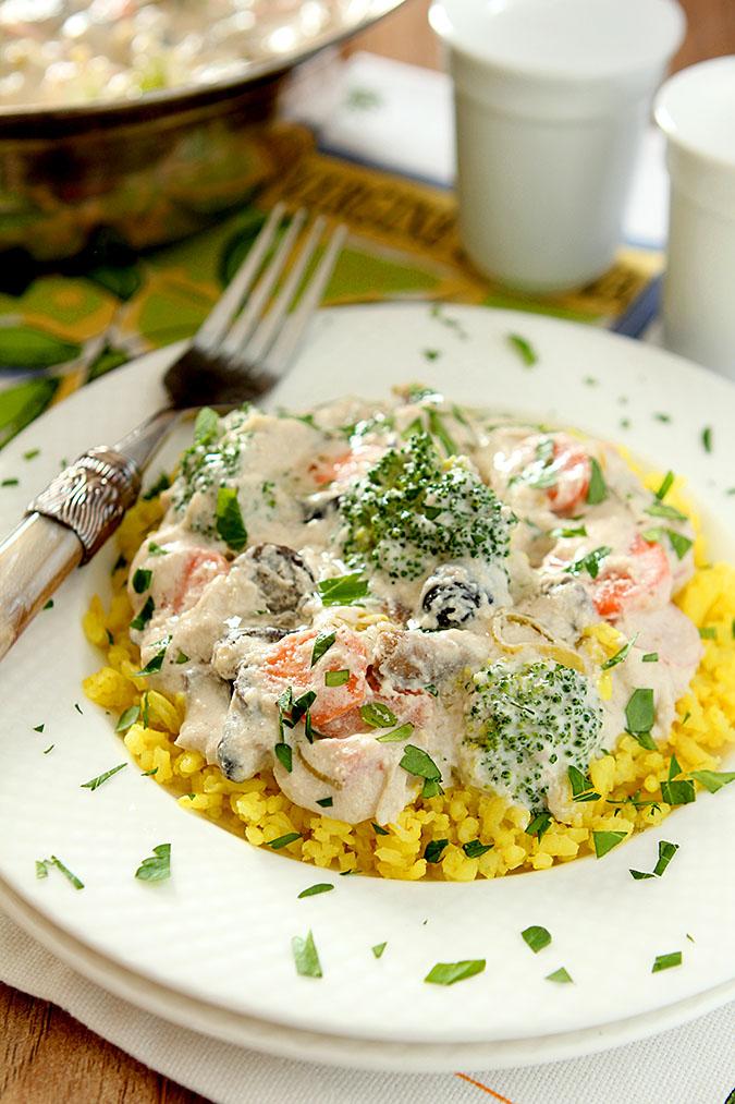 Mediterranean Vegetable Stroganoff with Ricotta and Parmesan Cheese