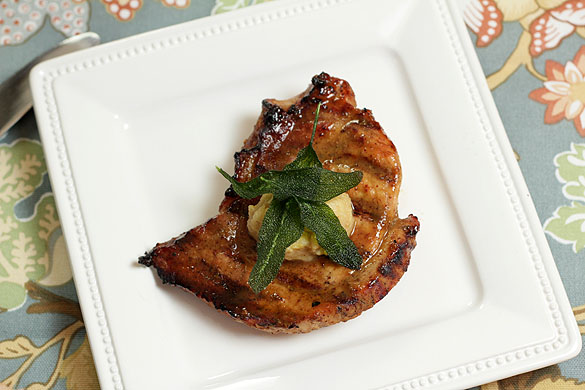 Molasses and Rum Glazed Pork Steaks with Savory Apple Butter