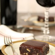 Red Wine Chocolate Brownies with Toasted Walnuts