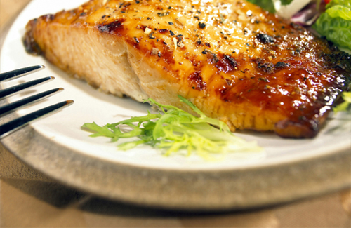 Salmon with Mustard and Brown Sugar Glaze