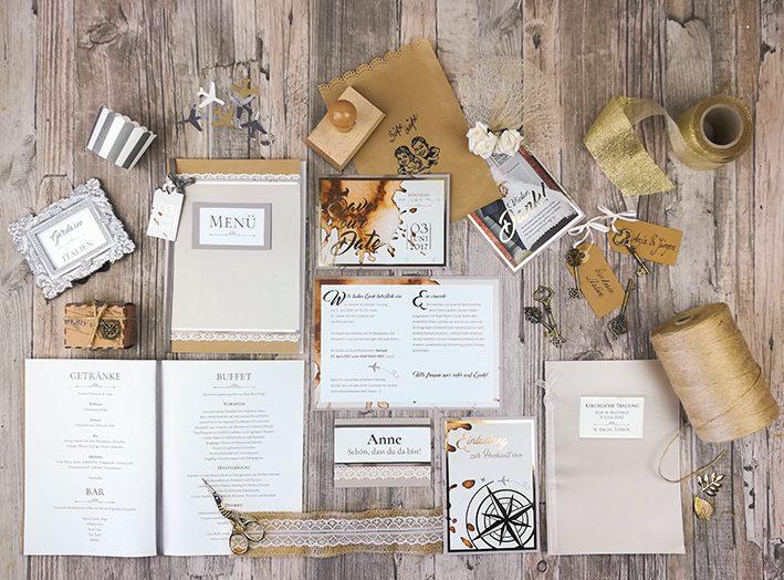 Hochzeitspapeterie | Einladungskarten, Namensschilder, Dankeskarten | Reise Motto Hochzeit
