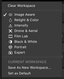 Workspaces in Luminar Flex