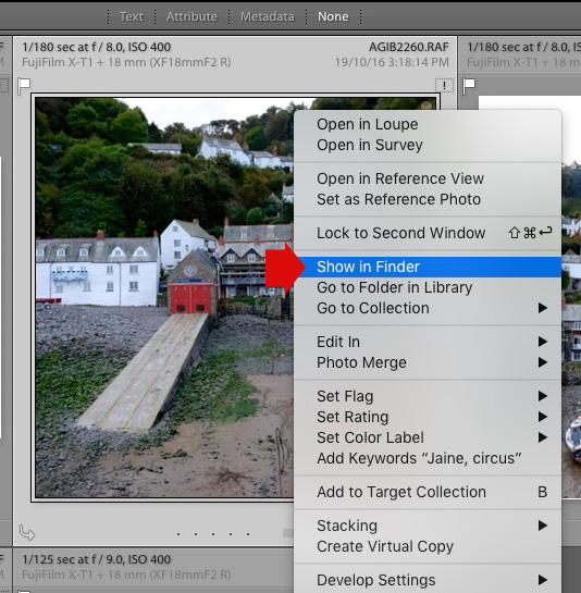 Show in Finder menu option in Lightroom Library module