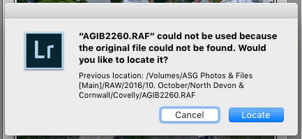 File not found error message in Lightroom