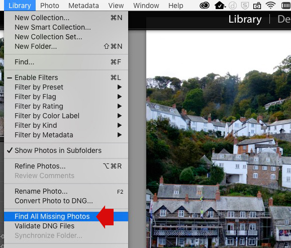 Find all missing files menu option in Lightroom Library module