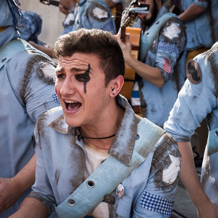 Street performer singing at Carnival in Cadiz, Spain