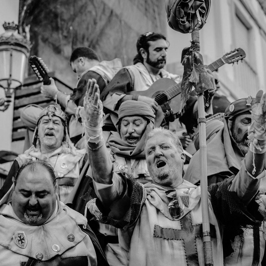 Portrait of singer at carnival in Cadiz, Spain.