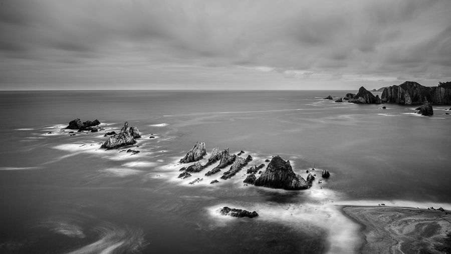 Black and white landscape photo taken in Asturias, Spain.