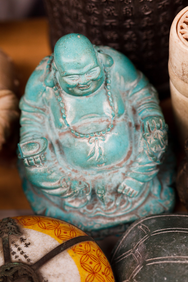 Moody color photo of buddha ornament