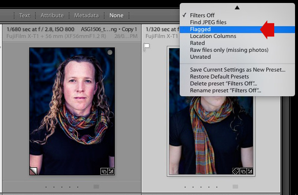 Flagged photos in Lightroom Grid View