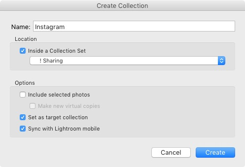 Creating a Collection in Lightroom