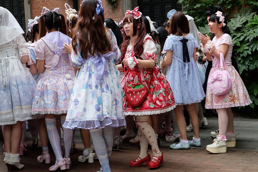 Street photo of gothic lolita girls taken in Shanghai, China