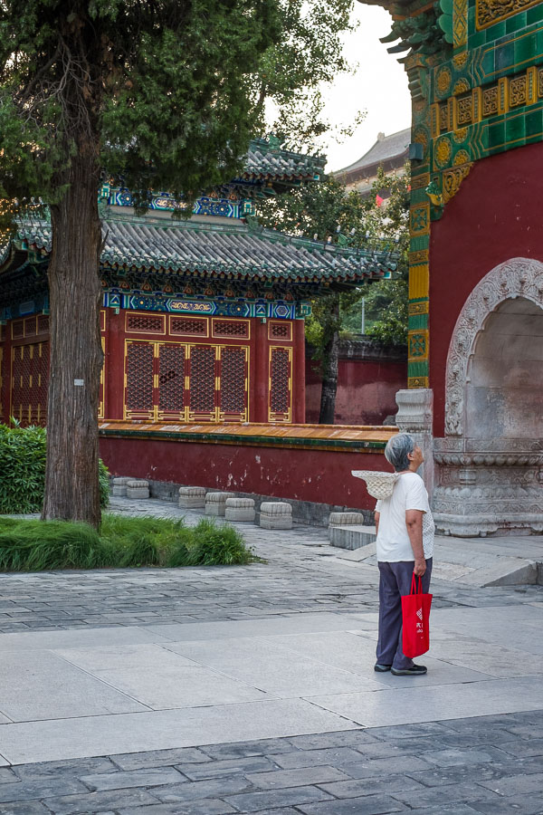 Street photo of elderly woman looking at old buildings in Beijing, China.