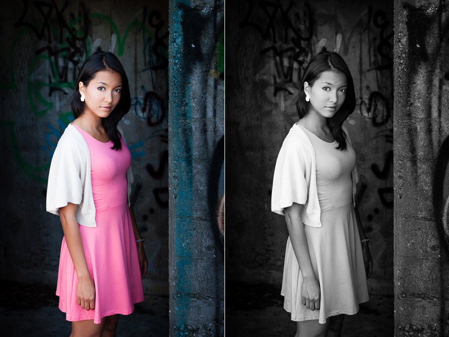 Color and black and white portraits of Asian woman