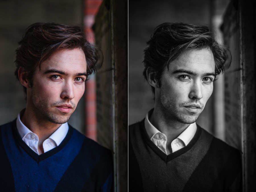 Color and black and white portraits of man
