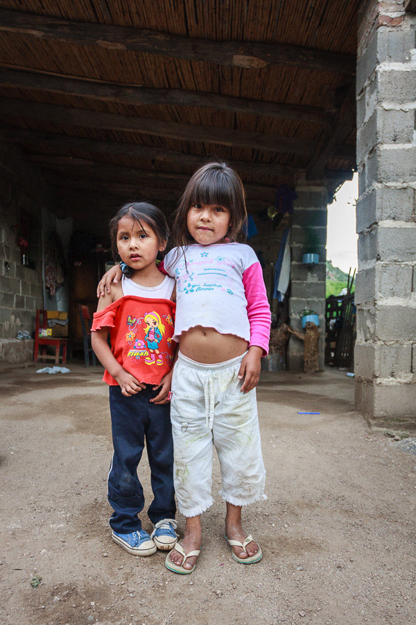 Two children in Cafayate, Argentina photographed with a wide-angle lens