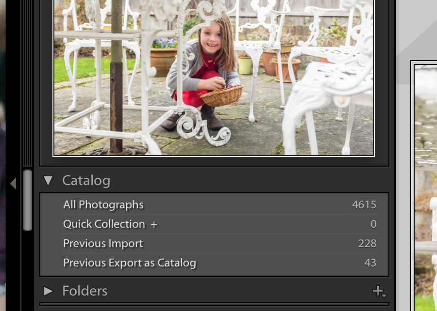 Screenshot showing number of photos imported into Lightroom Catalog as part of a Lightroom workflow