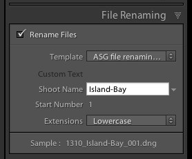 Renaming photos in Lightroom
