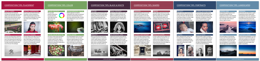 Free composition photo tips cards