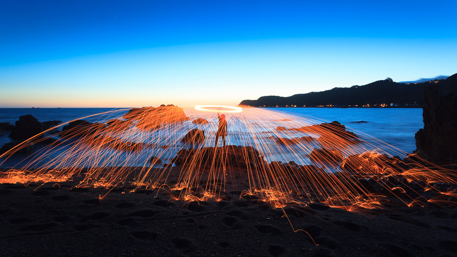 Blue hour and steel wool spinning