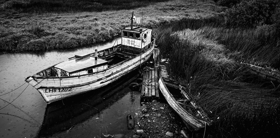 Black and white photo of boats
