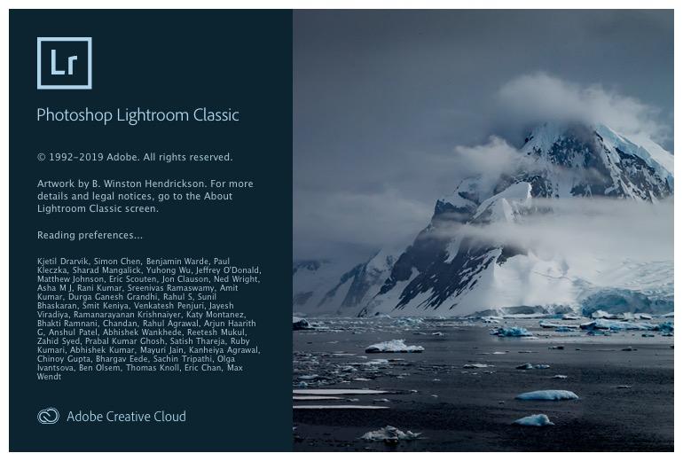 Lightroom Classic splash screen