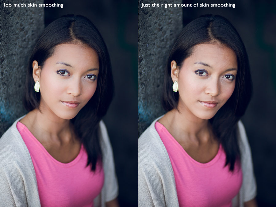 Skin smoothing in portraits