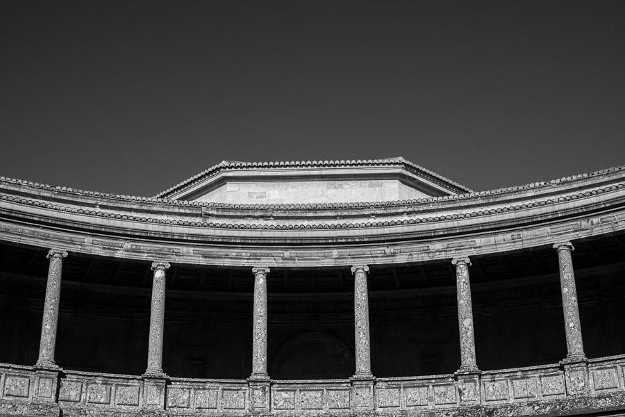 Dramatic black and white photo of Alhambra Granada