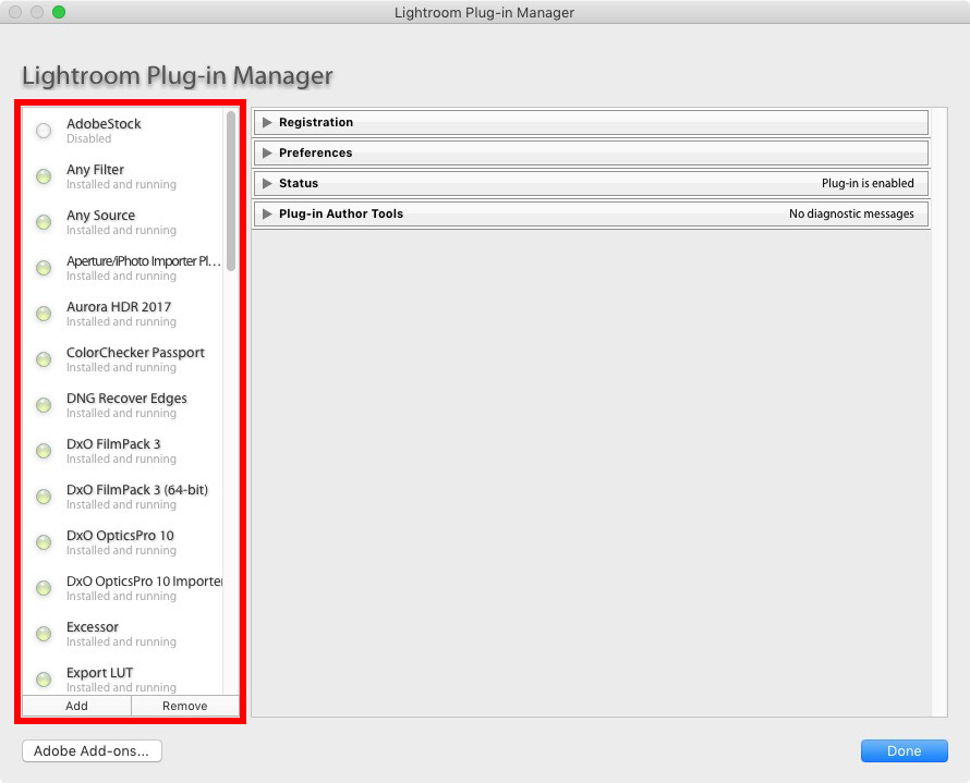 Lightroom Classic plugin manager