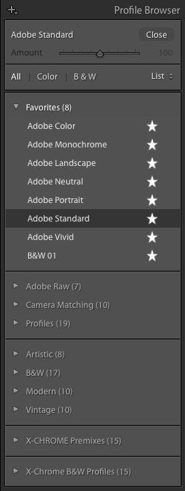 Lightroom Classic Profile Browser