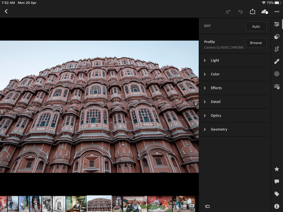 Lightroom for mobile app developing photos